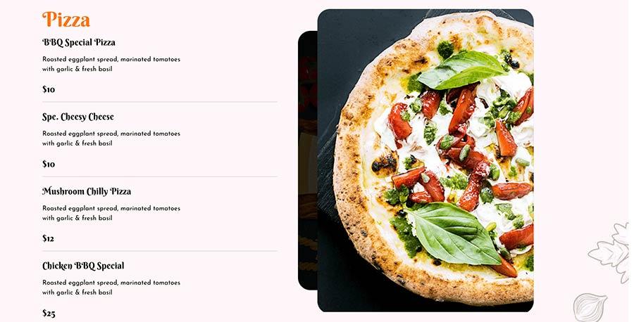 Menú de pizza entrega a domicilio